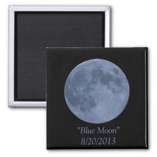Luna azul imán cuadrado