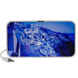 Luna azul sobre Fira Santorini Mini Altavoz