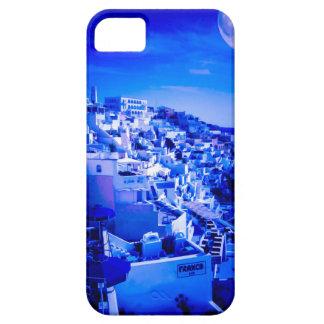 Luna azul sobre Fira Santorini Funda Para iPhone SE/5/5s