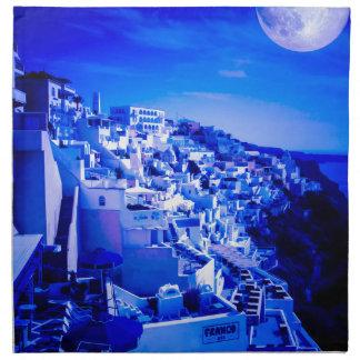 Luna azul sobre Fira Santorini Servilletas De Papel