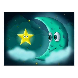 Luna azul y estrella amarilla tarjeta postal