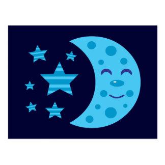 Luna azul y estrellas rayadas tarjeta postal