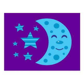 Luna azul y estrellas rayadas postal