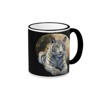 Luna blanca del tigre taza de dos colores