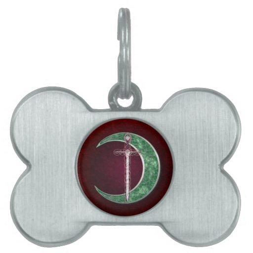 Luna céltica roja y verde placa de mascota