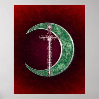 Luna céltica roja y verde póster