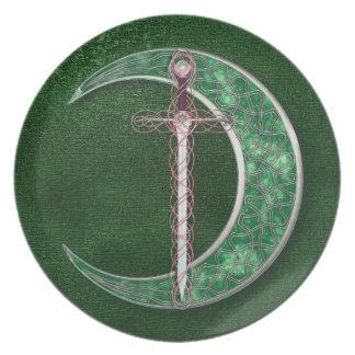 Luna céltica verde plato de cena