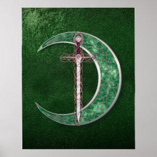 Luna céltica verde póster