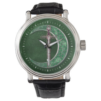 Luna céltica verde relojes de mano