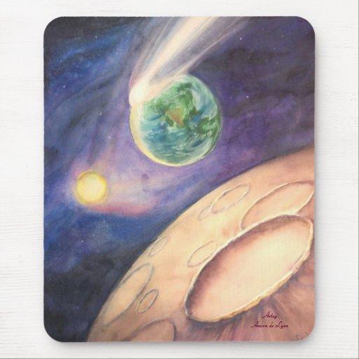 Luna, cometa, tierra, Sun Alfombrilla De Ratón