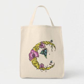 Luna con el bolso de ultramarinos de las orquídeas bolsa tela para la compra