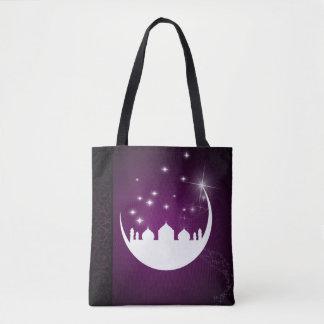 Luna con la silueta de la mezquita todo encima - bolsa de tela