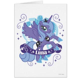 Luna con la voluta tarjeta de felicitación