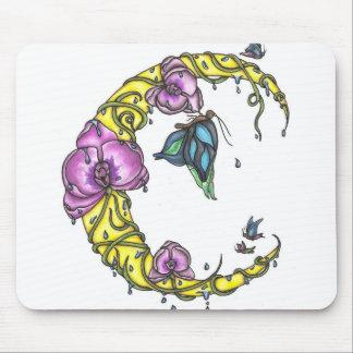 Luna con las orquídeas y el cojín de ratón de las  alfombrilla de raton