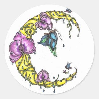 Luna con las orquídeas y los pegatinas redondos de pegatina redonda