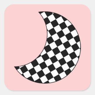Luna creciente a cuadros pegatina cuadrada