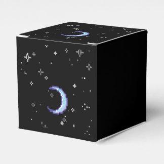Luna creciente azul con arte del pixel de las caja para regalos de fiestas