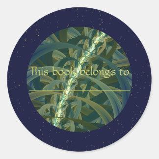Luna creciente de la semilla etiquetas redondas
