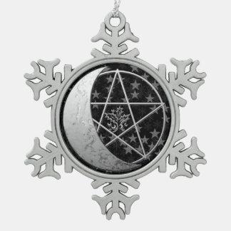 Luna creciente de plata y Pentagram - estaño Adorno De Peltre En Forma De Copo De Nieve