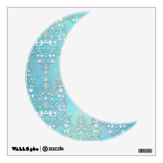 Luna creciente mística en un damasco azul vinilo