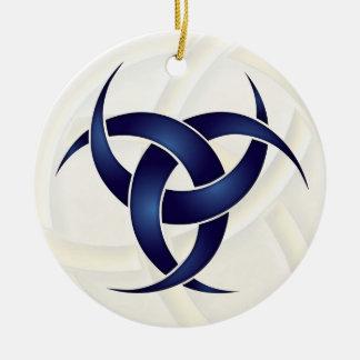 Luna creciente triple - azul - 1 adorno navideño redondo de cerámica