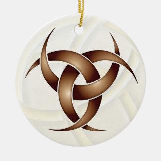 Luna creciente triple - cobre - 1 adorno navideño redondo de cerámica
