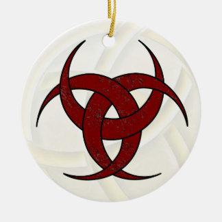 Luna creciente triple - mármol rojo - 1 adorno navideño redondo de cerámica