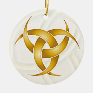 Luna creciente triple - oro - 1 adorno navideño redondo de cerámica