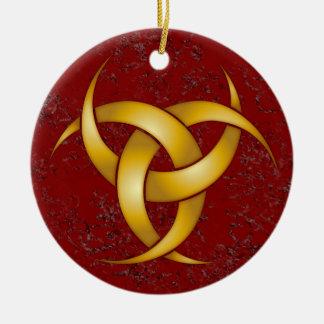 Luna creciente triple - oro - 2 adorno navideño redondo de cerámica