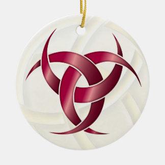 Luna creciente triple - rubí - 1 adorno navideño redondo de cerámica