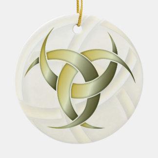 Luna creciente triple - verde/oro - 1 adorno navideño redondo de cerámica