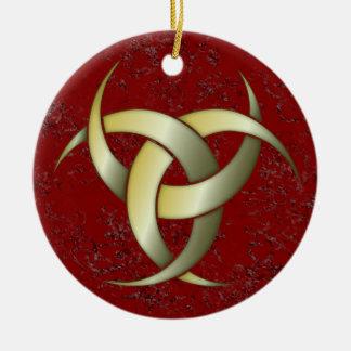 Luna creciente triple - verde/oro - 2 adorno navideño redondo de cerámica