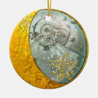 Luna creciente y Steampunk #1 del oro Adorno Navideño Redondo De Cerámica