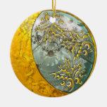 Luna creciente y Steampunk #2 del oro Adorno Navideño Redondo De Cerámica