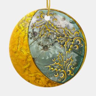 Luna creciente y Steampunk 2 del oro Adorno