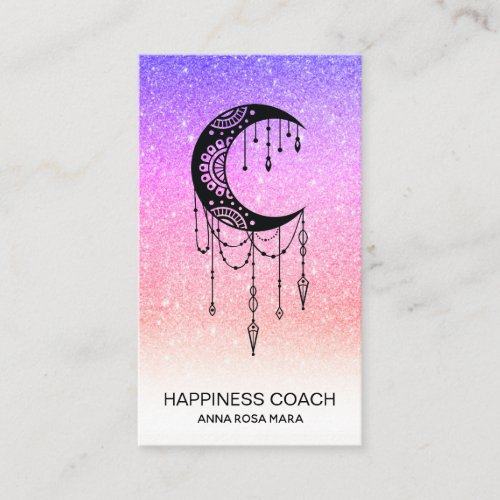 Luna Crescent Moon Talisman Shaman Glitter Business Card