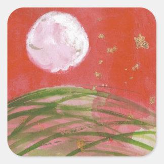 Luna de agosto sobre los pegatinas de la hierba pegatina cuadrada
