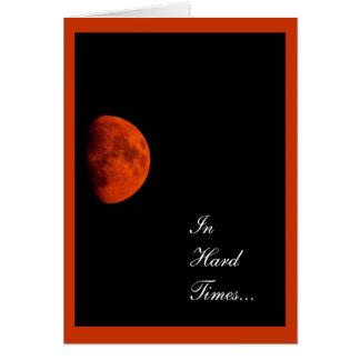 Luna de cosecha anaranjada, condolencia, estímulo tarjeta de felicitación