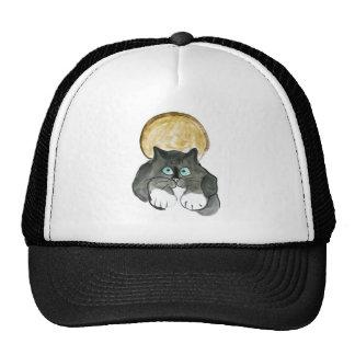 Luna de cosecha y gato del smoking gorras