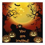 Luna de Halloween, calabazas y palos Invitación 13,3 Cm X 13,3cm