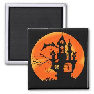 Luna de Halloween Imán Cuadrado