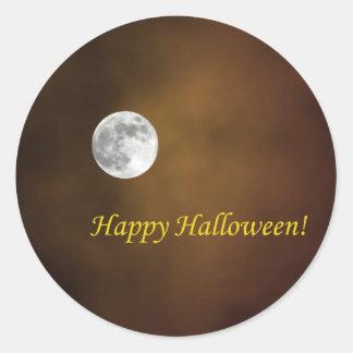 Luna de Halloween Pegatina Redonda