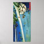 Luna de Hiroshige sobre la bella arte de la Póster