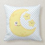 Luna de Kawaii y almohada de tiro de las estrellas