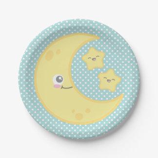 Luna de Kawaii y placas de papel de las estrellas Plato De Papel De 7 Pulgadas