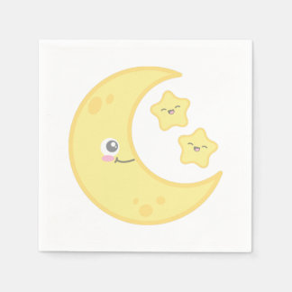 Luna de Kawaii y servilletas de las estrellas Servilleta De Papel