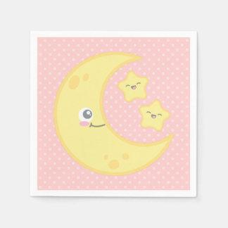 Luna de Kawaii y servilletas de las estrellas Servilleta Desechable