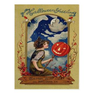 Luna de la bruja de la linterna de Jack O de la Postales