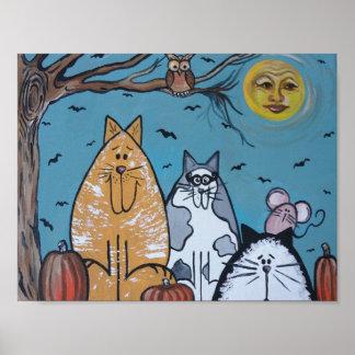 Luna de la cosecha de un gato póster