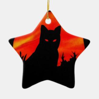 Luna de la cosecha del gatito adornos de navidad